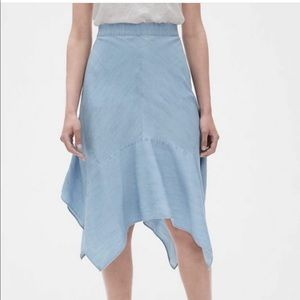 Gap asymmetrical light blue denim midi skirt